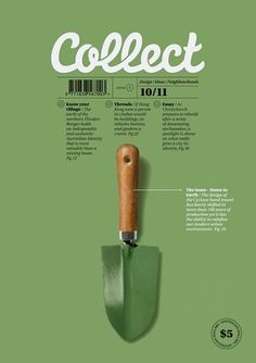 A picture of a hand shovel that was manipulated on Photoshop. Put into InDesign to add text.