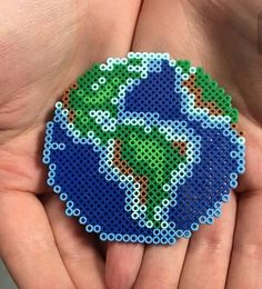 The Earth perler beads by the_original_perler Completed and extending on Minecraft Perler Bead Templates, Diy Perler Beads, Perler Bead Art, Pearler Beads, Hama Beads Coasters, Melty Bead Patterns, Pearler Bead Patterns, Perler Patterns, Beading Patterns