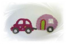 SaVö-Design - Auto mit Wohnwagen pink, Camping, Caravan, Applikation, Häkelapplikation