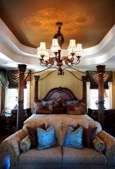 romantic Tuscan design master bedroom... Love bedroom ❤️