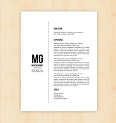 Resume Template / CV Template - The Meredith Grey Resume Design - Instant Download - Word Document / Docx / Doc Format