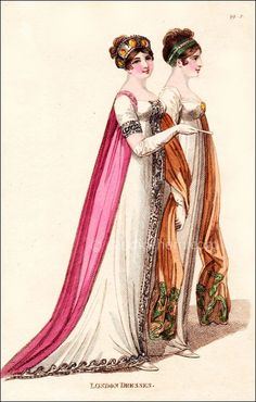 "April 1806;""Fig. 1–A loose robe of undressed crape over a dress of white satin, or sarsnet, embroidered all round with silver; Fig. 2–A round dress of fine muslin over white sarsnet."