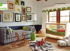 great gallery wall in kids room. love the bkl & wht daybed too!