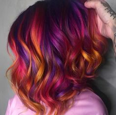 Colored hair: step by step ideas for inspiring and . Vivid Hair Color, Vibrant Hair Colors, Pretty Hair Color, Hair Color Purple, Hair Dye Colors, Fire Hair Color, Autumn Hair Colors, Sunset Hair, Grunge Hair