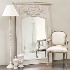 Specchio caminetto in legno grigio H 180 cm GARANCE