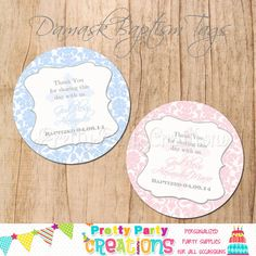 Damask BAPTISM favor tags  You Print  3 or by PrettyPartyCreations, $6.25