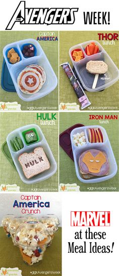 Theme week: AVENGERS!!! Lunches packed in @easylunchboxes