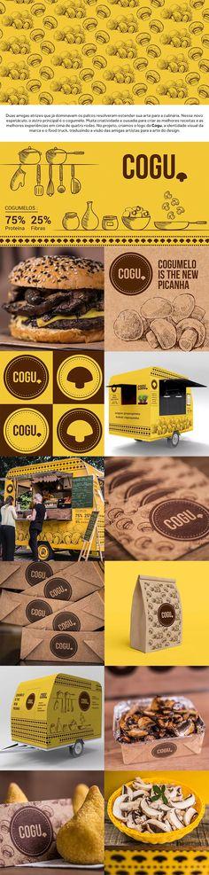 No projeto, criamos o logo da Cogu, a identidade visual da marca e o food truck, traduzindo a visão das amigas artistas para a arte do design. | logo design cogumelos mushroom graphic design food truck branding embalagem packaging |