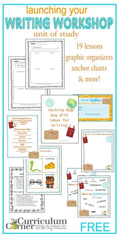 Launching Your Writing Workshop Complete Unit of Study FREE from The Curriculum Corner - love the cute travel theme that is a… Writing Strategies, Writing Lessons, Writing Resources, Writing Activities, Writing Ideas, Writing Rubrics, Paragraph Writing, Persuasive Writing, Writing Process