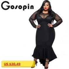 Gosopin Plus Size Women Sexy Clubwear Dress Black Mermaid High Low Maxi Ladies Formal Autumn Dresses XXL Party Long Sleeve 61086