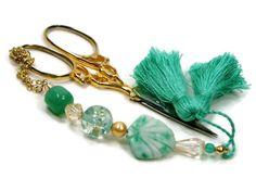 Beaded Scissor Fob Mint Green Seashell Scissor Minder by TJBdesigns on Etsy