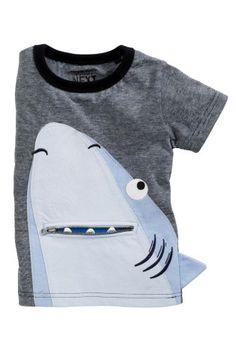 Blue Zip Mouth Shark Short Sleeve T-Shirt (3mths-6yrs)