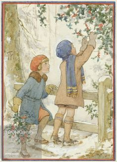 'Christmas Holly' - children collecting holly. Christmas card. Margaret Tarrant