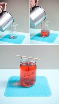 "DIY Mason Jar candles. I recently saw them selling these at Meijers and thought ""there must be SOME way to make those!"". And whaddaya know, there is!"