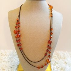 Amber Beaded Necklace! Amber Beaded Necklace! Can wear long, or double up  Jewelry Necklaces