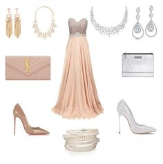 """""""Nude vs. Silver"""" by vandriakova-z on Polyvore featuring Jovani, Christian Louboutin, Casadei, Kenzo, Yves Saint Laurent, Forever 21, Bling Jewelry and Sif Jakobs Jewellery"""