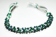 Great for Christmas! Kumihimo Beaded Bracelet Emerald Green & White Satin Cord Frosted Emerald Green Beaded Jewelry