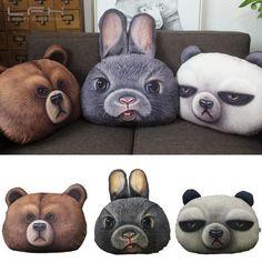 Lfh 3D Printing Kung Fu Panda Brown Bear Rabbit Creative Animal Pillow Cushio