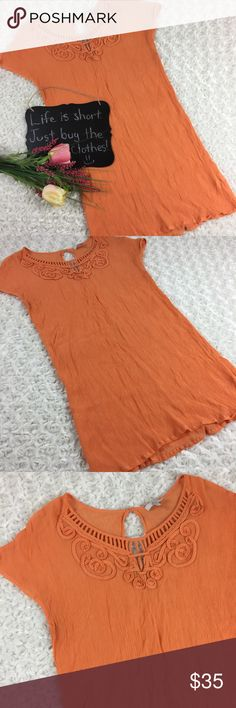 "Joie orange tunic top Joie gauzy semi sheer tunic top. Beautiful!! Size S. 16.5"" arm pit to arm pit. 31"" length. Joie Tops Tunics"