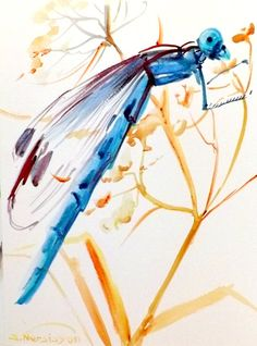 Blue Dragonfly oporiginal watercolor painting 12 X by ORIGINALONLY, $26.00