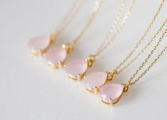 bridesmaid+gifts+-+Set+of+5+-+Pale+pink+teardrop+glass+gold+chain+necklaces  ♥+the+glass+pendant+measures+is+approx.+13+x+13+mm ♥+Available+in+mint+drop+glass ♥+Total+necklace+length+measures+Approx+16+inches ♥+Comes+in+a+Lovely+gift+packing