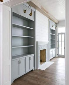 Beautiful blue gray paint colour and white shiplap fireplace / built ins. Beautiful blue gray paint colour and white shiplap fireplace / built ins. Beautiful blue gray paint colour and white shiplap Fireplace Lighting, Fireplace Doors, Fireplace Built Ins, Shiplap Fireplace, Farmhouse Fireplace, Fireplace Remodel, Fireplace Design, Fireplace Ideas, Ceiling Lighting