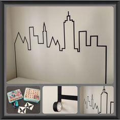 Fun Teen Girl Bedrooms, bedroom planning ref 2811613238 Tape Wall Art, Washi Tape Wall, Tape Art, Kids Bedroom, Bedroom Decor, Wall Decor, Girl Bedrooms, Superhero Room, Batman Room