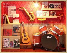 DIY Wooden Dollhouse Miniatures ROCK TIME Store Handwork Musical instrument kits