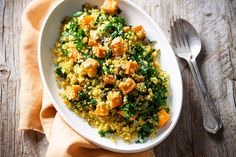 This hearty vegan pilaf combines sweet pumpkin, crunchy pepitas and healthy kale with spice-filled quinoa.