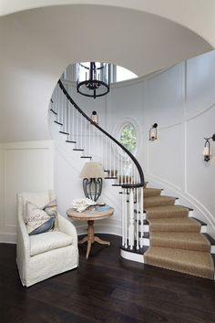 I Love Everything About This From The Contrasting Wood Tones To Curved Staircase