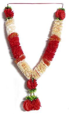 Red and Light Peach Cloth Flower Garland (Silk Cloth)