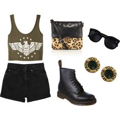 Edgy outfit featuring a graphic crop top, black, high-rise shorts, combat boots, a leopard print crossbody bag, statement studs and oversize black sunglasses