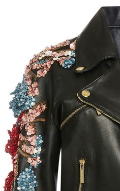 This **Elie Saab** perfecto jacket, rendered in leather, features gold hardware and raised crystal embroidery through the sleeve. I Love Fashion, Fashion Details, Diy Fashion, Womens Fashion, Fashion Design, Fashion Trends, Leather Embroidery, Embroidery Fashion, Crystal Embroidery