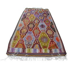 "Vintage Turkish Kilim Rug - 5'2"" X 10'7"" ($795) ❤ liked on Polyvore featuring home, rugs and traditional handmade rugs"
