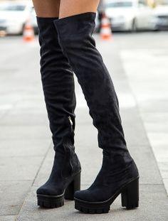 ÇİZME Sexy Siyah Platform Taban Çorap Çizme
