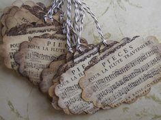 100 French Music distressed hang tags