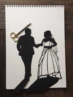 Paper CutOut Wedding Silhouette Wall Art - First Anniversary Paper Gift - Custom Wedding Portrait - first anniversary gift for him First Anniversary Paper, Anniversary Gifts For Him, Wedding Silhouette, Black Silhouette, Silhouette Portrait, Glue Crafts, Photo Look, Paper Gifts, Wedding Portraits