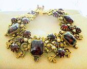 Faceted Emerald Cut Ruby Red Crystals Pearls Link Bracelet Vintage