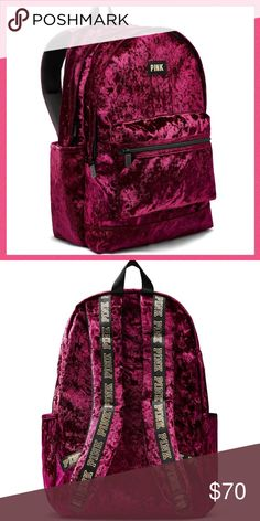 •Victoria's Secret PINK• Velvet Campus Backpack V I C T O R I A 'S ✦ S E C R E T PINK  ❈ Condition: New with tags  The one and only Campus Backpack now comes in luxe velvet! Durable and super cute, it's got plenty of pockets and tons of room to fit all your campus essentials.  • Ruby Velvet  •Comfy padded straps with mesh overlay for breathability  •Zippered padded laptop sleeve fits 17'' laptop •Exterior zip pocket •Internal mesh pocket •18in x12in •Velcro closure side pockets  xo ღ…