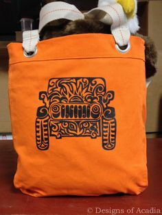 Original Jeep Tattoo Design -  Screen Printed Bright Colored Allie Tote Bag by DesignsofAcadia on Etsy https://www.etsy.com/listing/209312413/original-jeep-tattoo-design-screen