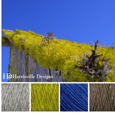 'Moss on Roof' color palette features our HIGHLAND yarn in Silver Mist, Grass, Iris and Toffee.