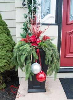 Outside Christmas Decor- Christmas Decorating on a Budget- Outdoor Christmas planters