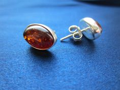 Modern Oval Amber Earrings - Modern amber studs with 925 sterling silver. These earrings are available in cognac color and they are suitable for all occasions - Amber Earrings, Stud Earrings, Studs, Charlotte, Sterling Silver, Modern, Collection, Color, Jewelry