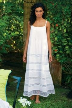 Lots Of Lace Gown - Lace White Cotton Night Gown, Cotton Gown | Soft Surroundings
