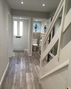 o I get lots of people messaging me asking what my flooring is so thought I would do a post. It's called camero flooring which is similar Front Rooms, Lots Of People, House Stairs, Home Decor Kitchen, Bathtub, Flooring, Interior, Hallway Ideas, Room Ideas