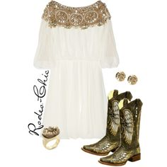 """Wings of a Dove"" by rodeo-chic on Polyvore, tunic dress with gold Corral wing cowboy boots, western"