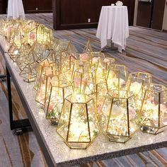 90 terrarium centrepieces ready for event at the 🥰 Terrarium Centerpiece, Lighted Centerpieces, Wedding Table Centerpieces, Wedding Decorations, Table Decorations, Gold Terrarium, Floral Wedding, Diy Wedding, Rustic Wedding