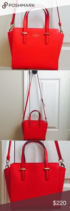 """Kate spade Hayden leather handbag In excellent condition with no stains or scratches. 8.6""""h x 9.2""""w x 4.7""""d.   18.5"""" - 20.5"""" adjustable strap. Dust bag included. Color: bright red ❤️ kate spade Bags Crossbody Bags"""