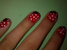 Do you want to know how to make this nails? 1.Get the red nail polish on all nails. 2.Make couple white dots. 3. Make this little bows on top left corner of the nail. 4.Finish with a top coat on all nails. 5.You're done. Do you like this nails?