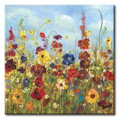 32_DOl58 _ Sunshine Meadow I / Cuadro Paisaje, Flores de Colores